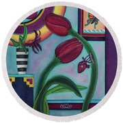 Lifting And Loving Each Other Round Beach Towel by Lori Miller