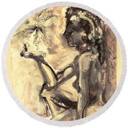 Round Beach Towel featuring the painting Light And Shadow by Mary Schiros