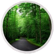 Light And Shadow On A Mountain Road Round Beach Towel