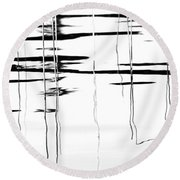Light And Shadow Reeds Abstract Round Beach Towel