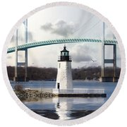 Round Beach Towel featuring the photograph Light At Goat Island by Robin-Lee Vieira