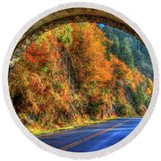 Round Beach Towel featuring the photograph Light At The End Of The Tunnel Blue Ridge Parkway Art by Reid Callaway