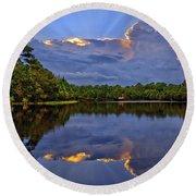 Light Beam Sunset Over Hidden Lake In Jupiter Florida Round Beach Towel