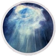 Round Beach Towel featuring the painting Light Beams by Allison Ashton