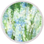 Round Beach Towel featuring the painting Light Blue Grape Hyacinth. by Laurie Rohner