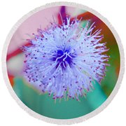 Light Blue Puff Explosion Round Beach Towel by Samantha Thome