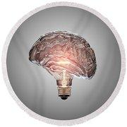 Light Bulb Brain Round Beach Towel
