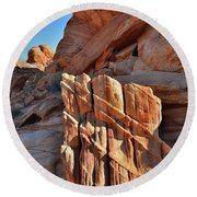 Light Creeps In At Valley Of Fire State Park Round Beach Towel