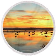 Round Beach Towel featuring the photograph Light Dance North County by John F Tsumas