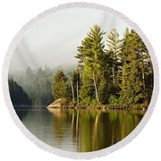 Light Fog On Slim Lake Round Beach Towel