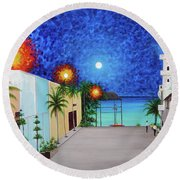 Light House Playa Del Carmen Version II Round Beach Towel