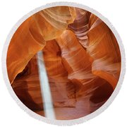 Light In Antelope Canyon Round Beach Towel
