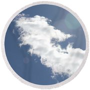 Light In Cloud Flare Round Beach Towel