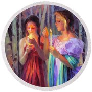 Round Beach Towel featuring the painting Light In The Forest by Steve Henderson