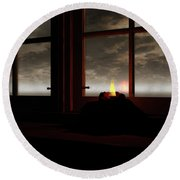 Light In The Window Round Beach Towel