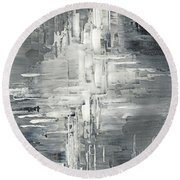 Round Beach Towel featuring the painting Light Into The Darkness by Tatiana Iliina