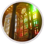 Light Of Gaudi Round Beach Towel