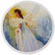 Light Of Grace,angel Round Beach Towel