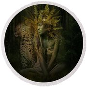 Light Of The Night Forest Round Beach Towel