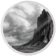 Light On Shiprock Round Beach Towel