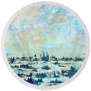 Light Over Broad Creek Round Beach Towel