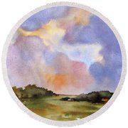 Round Beach Towel featuring the painting Light Over The Hills by Rae Andrews