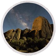 Light Painted Rocks In The Hills Round Beach Towel