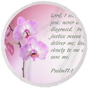 Light Pink Orchid Psalms 71 Round Beach Towel by Linda Phelps