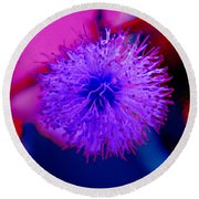 Light Purple Puff Explosion Round Beach Towel by Samantha Thome