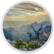 Light Seeks The Depths Of Grand Canyon Round Beach Towel