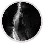 Light Shaft In Lower Antelope Canyon Round Beach Towel