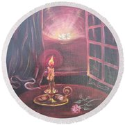 Flying Lamb Productions      Light The Yes Candle Round Beach Towel
