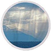 Light Through Clouds Round Beach Towel