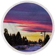 Light To My Path Round Beach Towel by MaryJane Armstrong