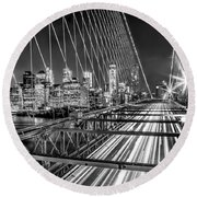 Light Trails Of Manhattan Round Beach Towel by Az Jackson