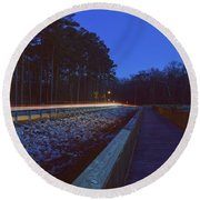 Light Trails On Elbow Road Round Beach Towel