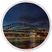Round Beach Towel featuring the photograph Light Trails On The Harbor By Kaye Menner by Kaye Menner