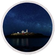 Light Up Nubble Lighthouse Round Beach Towel
