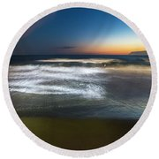 Light Waves At Sunset - Onde Di Luce Al Tramonto II Round Beach Towel