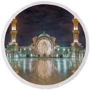 Lighted Federal Territory Mosque  Round Beach Towel