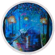 Round Beach Towel featuring the painting Lighted Parkway by Leslie Allen