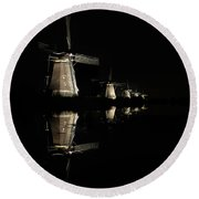 Lighted Windmills In The Black Night Round Beach Towel