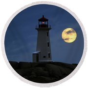 Lighthouse And Full Moon Round Beach Towel