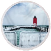 Lighthouse And Ice Round Beach Towel