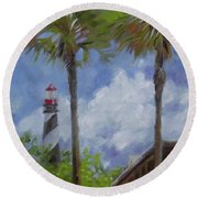 Lighthouse And Palms Round Beach Towel