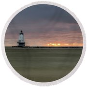 Lighthouse And Sunset Round Beach Towel