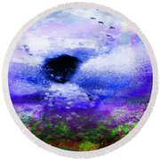Lighthouse Angel Purple In Hotty Totty Style Round Beach Towel