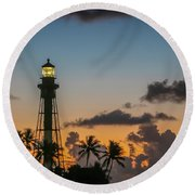 Round Beach Towel featuring the photograph Lighthouse At Dawn #1 by Tom Claud