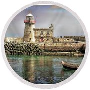 Lighthouse At Howth, Ireland Round Beach Towel