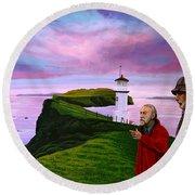 Lighthouse At Mykines Faroe Islands Round Beach Towel by Paul Meijering